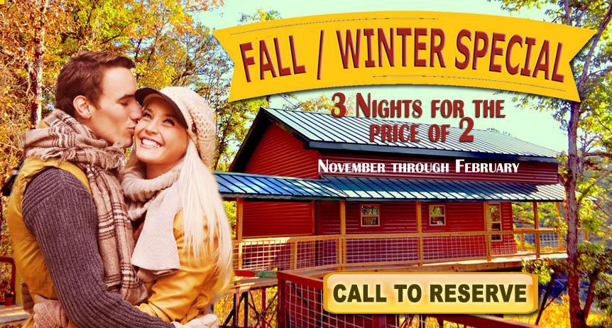 Treehouse cabins Fall Winter special