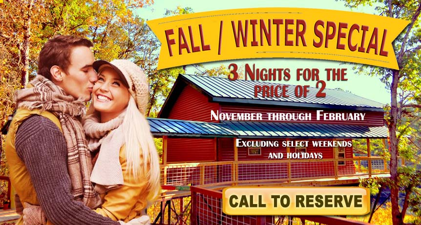 Fall Winter Special ad for Tree House Cabins