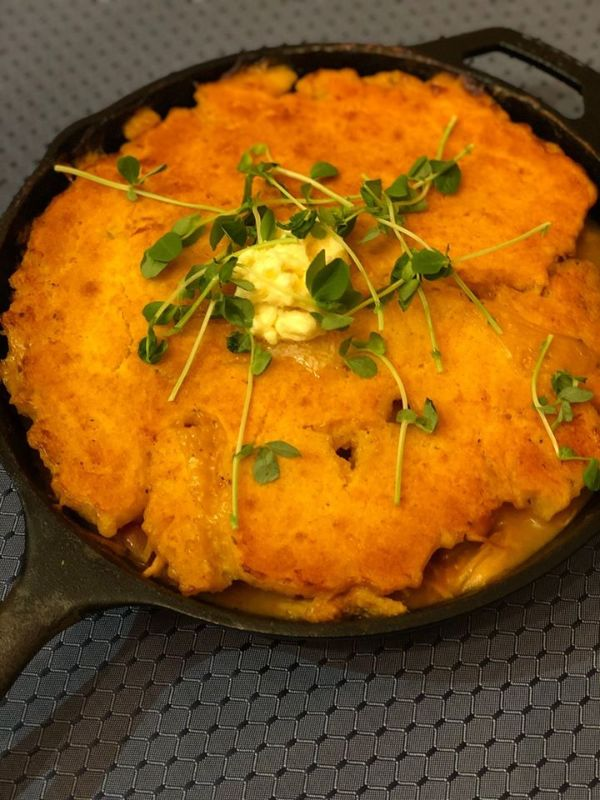 Homemade turkey pie with cornmeal crust